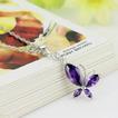 Moda viola diamante intarsiato insetto argento collana &