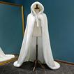 Mantello lungo con cappuccio invernale caldo scialle di peluche mantello spesso bianco