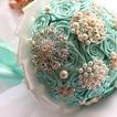 Diamante perla mano nella mano del nastro nastro rosa sposa bouquet di fiori con fiori
