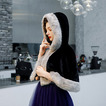 Scialle nero per mantello da sposa