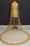 Velo da sposa in cattedrale con velo da sposa in paillettes con velo in oro 3M