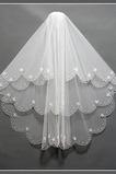 Velo da sposa Multi Strati Bianco Perline Lungo Breve Autunno