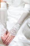 Guanti da sposa Primavera Spiaggia Applique Ombra Bianco Spessore