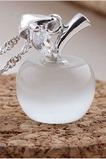 Pietra dell'occhio del gatto di Apple argento moda placcatura breve & ciondolo collana