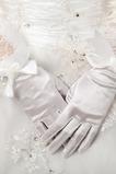 Guanti da sposa Chiesa Bianco Taffeta Spessore Pieno finger Fiocco
