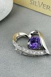 viola diamante intarsiato a forma di cuore in argento gioielli donne collana