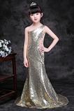 Abito cerimonia bambina Lungo moda monospalla Perline Naturale Corpetto Paillette