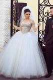 Abito da sposa Perline Cerniera Primavera Maniche Corte Con Velo Ball Gown