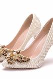 9CM scarpe da punta con tacchi a spillo con fiocco in perle e scarpe da festa