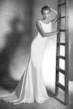Abito da sposa decorato Lungo Naturale foglia guaina Raso elastico