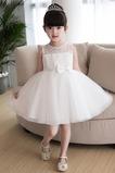 Abito cerimonia bambina al ginocchio decorato A-Line in pizzo Bow accentati