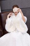 Mantello da sposa di grandi dimensioni scialle caldo da sposa in pelliccia sintetica