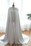 Mantello da sposa scialle con cappuccio in raso lungo colore scialle