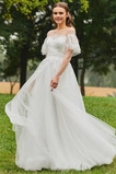 Abito da sposa A-Line Naturale Maniche Corte Petit Bateau Oscillare