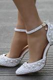 Sandali tacco alto sandali di strass con perline scarpe da sposa bianche