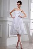 Abito da sposa A-Line Rosette Ornamento Perline completo Naturale