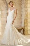 Vestiti da sposa Scollo a V Sirena Formale Naturale Pizzo Lungo