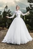 Abito da sposa Bateau Maniche Lunghe Ball Gown Lungo Gilet Allacciato