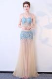Abito da ballo Naturale Tulle Previsione Colorato Perline Tubino
