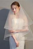 Velo da sposa a doppio velo corto con bordo netto elasticizzato retro velo