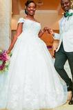 Abito da sposa A-Line Collare di spalla Carta Lace Coperta T-Shirt