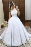 Abito da sposa Cerniera A-Line Pizzo Farfalla Ornamento Naturale Coda lunga