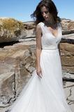 Abito da sposa Romantici Gonna lunga Spiaggia Naturale A-Line V-Scollo