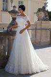 Abito da sposa Vintage Naturale A-Line Alta Coperta Pizzo Lungo