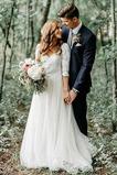 Abito da sposa Eleganti Mezze Maniche Naturale Lace Coperta T-Shirt