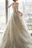 Abito da sposa Maniche Lunghe Formale A-Line Lace Coperta in pizzo