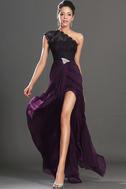 Abito da ballo foglia guaina Super monospalla Violetta africana Senza Maniche