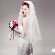 Velo da sposa Breve Bianco Affascinante Seghettato Dimensioni possono essere personalizzati