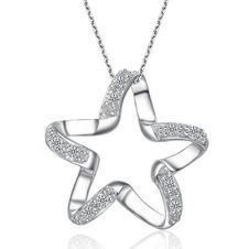 Clavicola donne argento cinque punte diamante intarsiato stella & collana