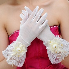 Guanti da sposa Perline Traslucido All Aperto Bianco Pizzo Pieno finger