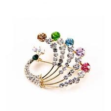 Diamante di Pavone colorato intarsiato di temperamento spilla