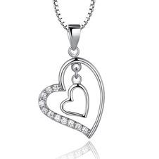 Argento diamante a forma di cuore di donne breve intarsiato collana pendente