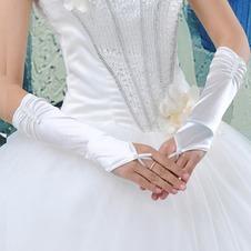 Guanti da sposa Bianco Romantici Guanti senza dita Perline Lungo Taffeta