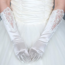 Guanti da sposa Chiesa Bianco Applique Decorazione moda Medium Long