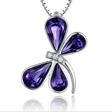 Donne di cristallo viola argento fornire all'ingrosso collana & Ciondolino Libellula