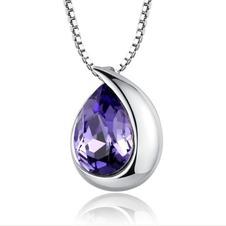 Commercio all'ingrosso d'argento a forma di cuore cristallo donne collana & ciondolo