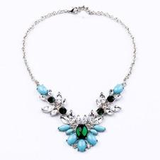 Lega intarsiato gioiello ciondolo & collana di fiori di cristallo di nozze