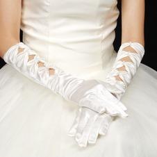 Guanti da sposa Lungo Pieno finger Appropriato Bianco Raso Autunno