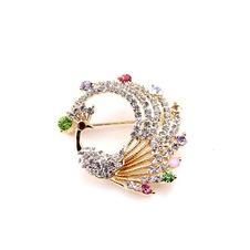 Intarsiate del diamante colorato lega pavone spilla