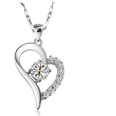 Vendita calda a forma di cuore placcatura donne Bright Shine & ciondolo collana