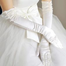 Guanti da sposa Increspato Inverno Formale Taffeta Lungo Bianco