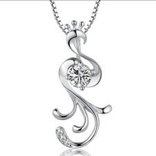 Donne moda pavone collana & pendente argento intarsiate del diamante