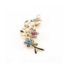Vendita calda donne accessori cristallo foglia spilla di diamanti intarsiati
