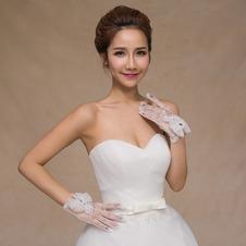 Guanti da sposa Pieno finger Lusso Bianco Perline Decorazione Breve
