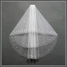 Velo da sposa Lungo Con il pettine Breve Bianco moda Perline