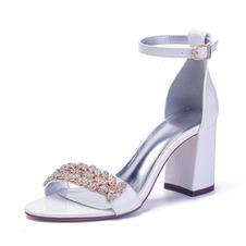 Sandali grandi con tacco grosso, scarpe da sposa con tacco alto da donna in raso e strass